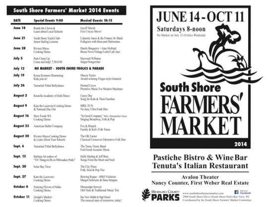 2014 South Shore Farmers Market schedul